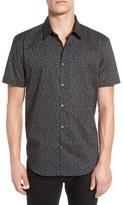 John Varvatos Trim Fit Print Short Sleeve Sport Shirt