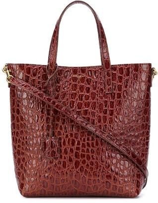 Saint Laurent Crocodile-Effect Shopping Bag