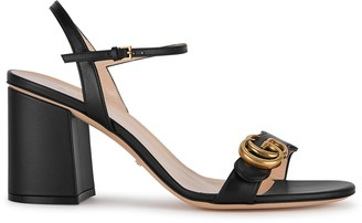 Gucci GG Marmont 75 Black Leather Sandals