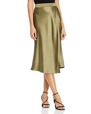Aqua Faux Wrap Satin Midi Skirt - 100% Exclusive
