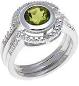 Sevilla Silver Diamond-Accented Peridot 3-piece Ring Set