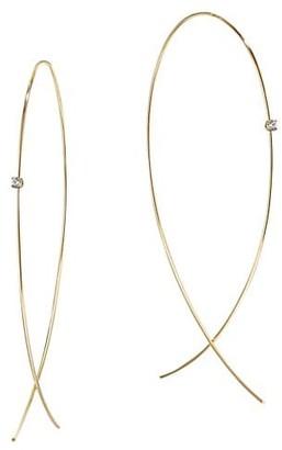 Lana 14K Yellow Gold & Diamond Large Wire Upside Down Hoops