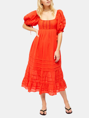 Free People Lets Be Friends Puff Sleeve Midi Dress
