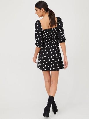 Very Spot Puff Sleeve Tea Dress - Spot Print