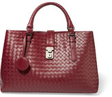Bottega Veneta Roma Medium Intrecciato Leather Tote - Claret