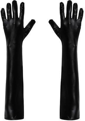 Aiihoo Women's Wetlook Patent Leather Full Finger Gloves Elbow Length Opera Club Party Mittens Fancy Dress Black M