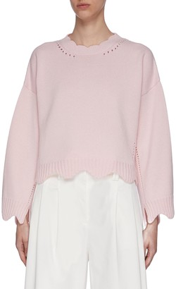 3.1 Phillip Lim Scalloped Hem Cashmere Blend Sweater
