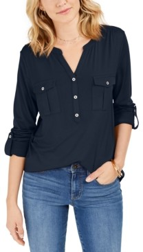 Style&Co. Style & Co Petite Roll-Tab Popover Top, Created for Macy's