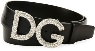 Dolce & Gabbana Men's Leather Belt w/ Crystal Logo Buckle