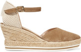 Paloma Barceló Woven canvas and suede wedge sandals
