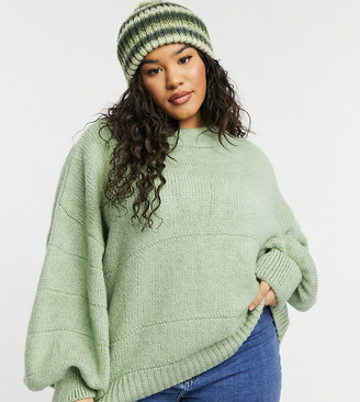 ASOS DESIGN Curve oversized jumper with stripe stitch detail in green