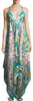 Etro V-Neck Sleeveless Printed Maxi Dress with Ribbon Ties, One Size