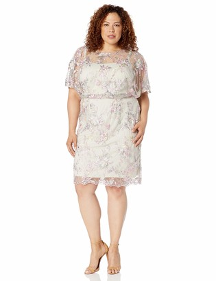 Brianna Women's Size Plus Short Blouson Dress w/Floral Embroidery