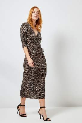 Dorothy Perkins Womens Leopard Plisse Wrap Midi Dress - Brown