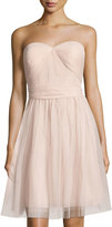 Marina Pleated Strapless Sweetheart Dress, Blush