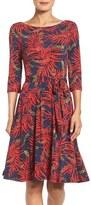 Leota Women's Belted Print Jersey A-Line Dress