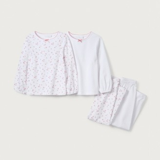 The White Company Floral & Spot Pyjamas Set of 2 (1-12yrs), White/Pink, 2-3yrs