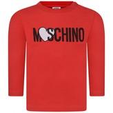Moschino Girls Red Heart Logo Top