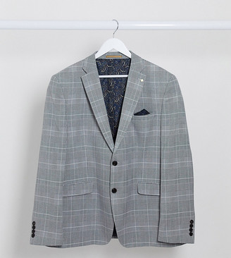 Burton Menswear Big & Tall slim suit jacket in grey prince of wales check