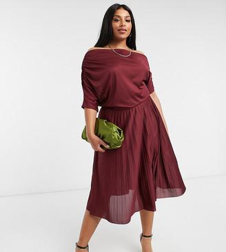 ASOS DESIGN Curve exclusive fallen shoulder pleated skater midi dress in burgundy
