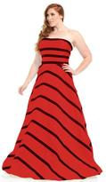 Johnathan Kayne 6034K Strapless Striped Taffeta Gown