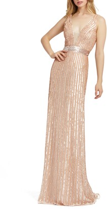 Mac Duggal Vertical Stripe Sequin Gown