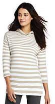 Lands' End Women's Petite Mixed Stripe Hoodie-Khaki Gray Stripe