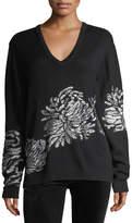 Prabal Gurung Metallic-Embroidered Knit Sweater