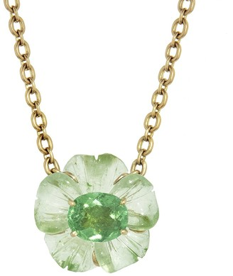 Irene Neuwirth One-Of-A-Kind Green Tourmaline Carved Flower Yellow Gold Necklace