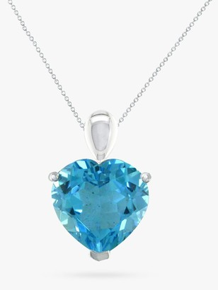E.W Adams 9ct White Gold Heart Pendant Necklace, Blue Topaz
