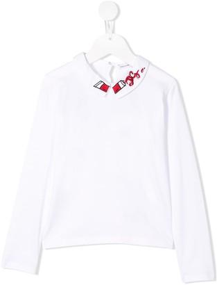 Dolce & Gabbana Kids Embroidered Collar Top