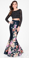Terani Couture Two Piece Fully Beaded Scoop Back Floral Prom Dress