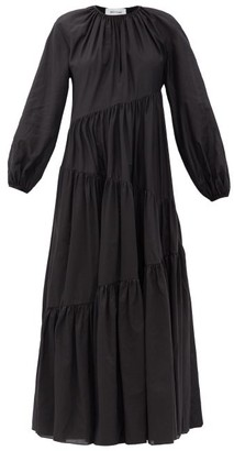 Matteau Asymmetric Cotton-blend Maxi Dress - Black