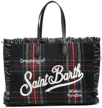 MC2 Saint Barth Tartan Fringed Logo Tote Bag