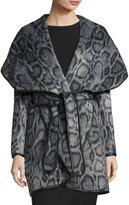 Diane von Furstenberg Bergen Leopard-Print Faux-Fur Wrap Coat, Gray