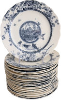 One Kings Lane Vintage Antique Flow Blue Dinner Plates, S/20