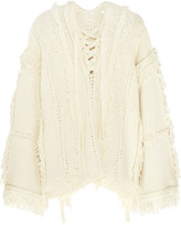 3.1 Phillip Lim Lace-up fringed open-knit sweater