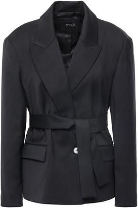 Maje Belted Woven Blazer