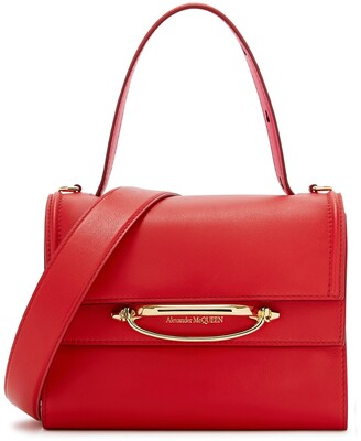 Alexander McQueen The Story Small Red Leather Top Handle Bag