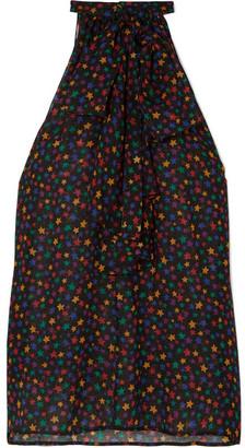 Saint Laurent Pussy-bow Printed Wool-gauze Blouse - Black