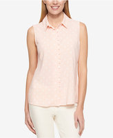 Tommy Hilfiger Sleeveless Dot-Print Shirt, Only at Macy's