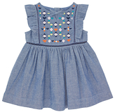 John Lewis Chambray Embroidered Dress, Blue