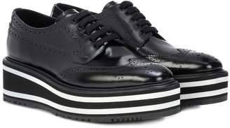 Prada Wingtip leather platform brogues
