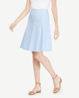 Ann Taylor Striped Poplin Flare Skirt