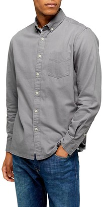 Topman Classic Fit Button-Down Twill Shirt
