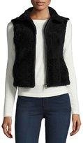 Adrienne Landau Cropped Shearling Vest, Black