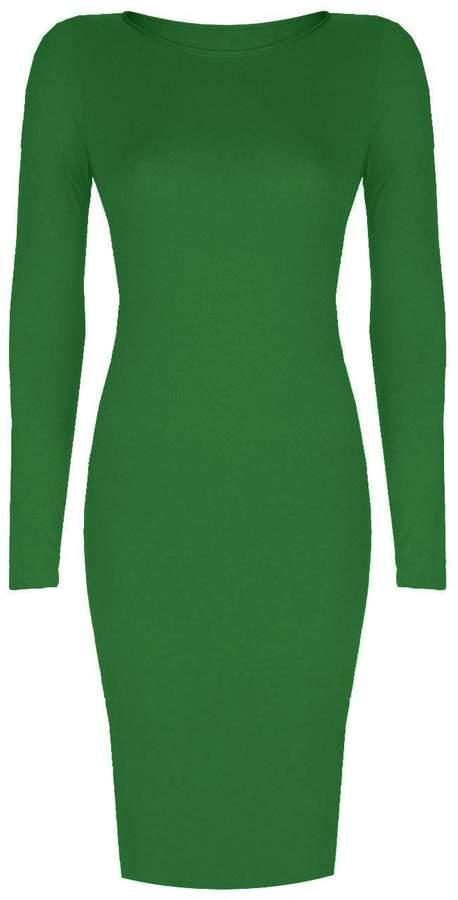 VIP Womens Long Sleeved Scoop Neck Midi Dress (Aqa) (8/10 (uk), )