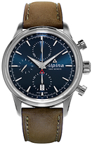 Alpina Al-750n4e6 Automatic Chronogrpah Stainless Steel Leather Strap Watch, Brown/blue