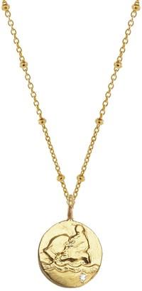 Yvonne Henderson Jewellery Gold Zodiac Necklace With White Sapphire - Aquarius