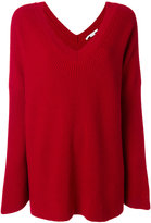Stella McCartney ribbed oversized v-neck sweater - women - Virgin Wool - 36